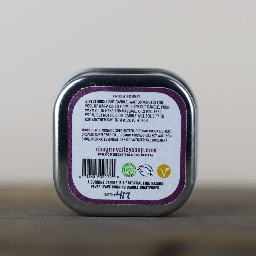 Natural Organic Lavender Body and Massage Lotion Candle Back