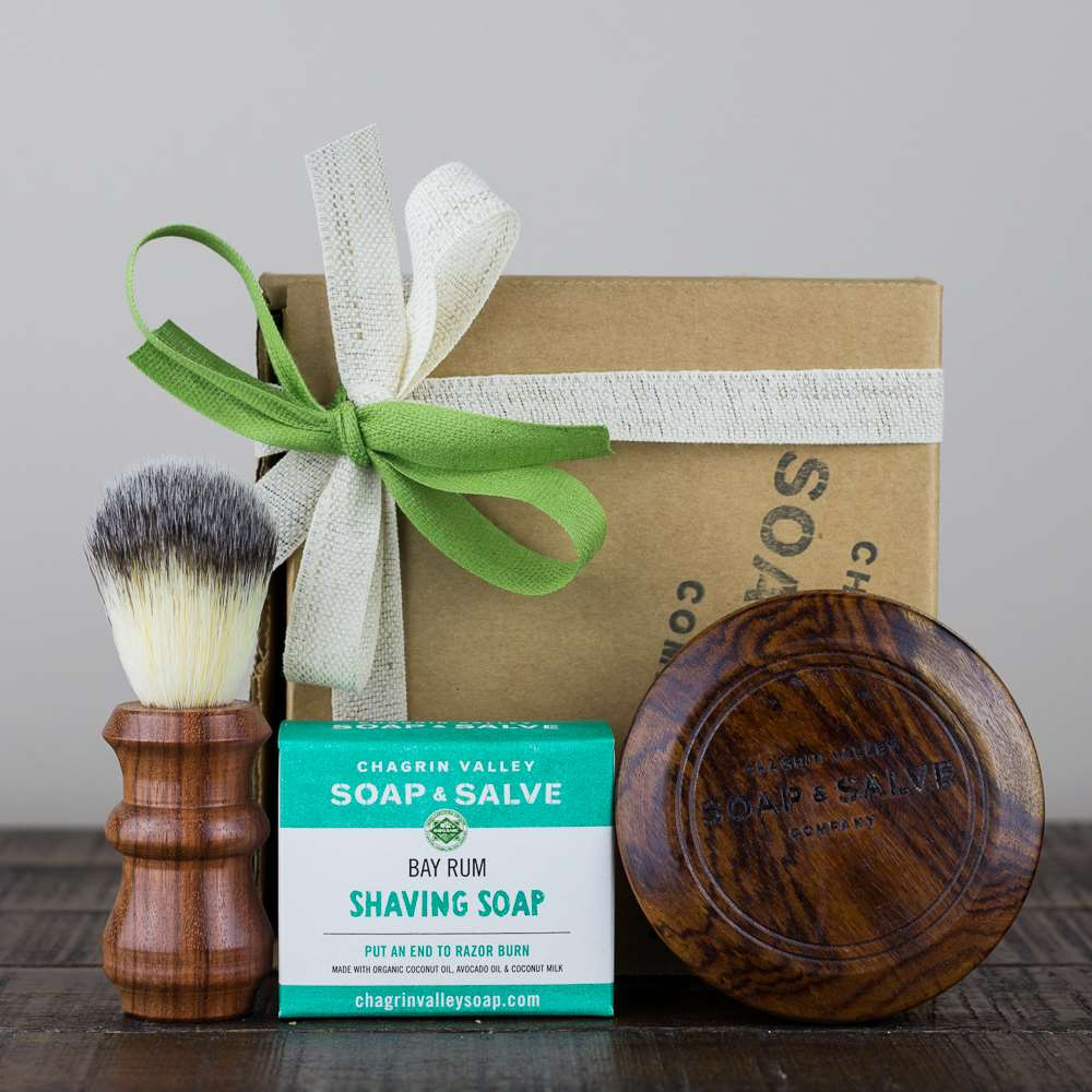 Wood Shaving Brush, Sheesham Shaving Bowl and Soap