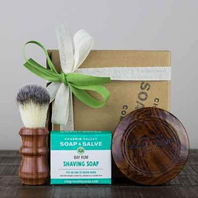 Gift: Wood Shaving Bowl, Soap & Agate Brush