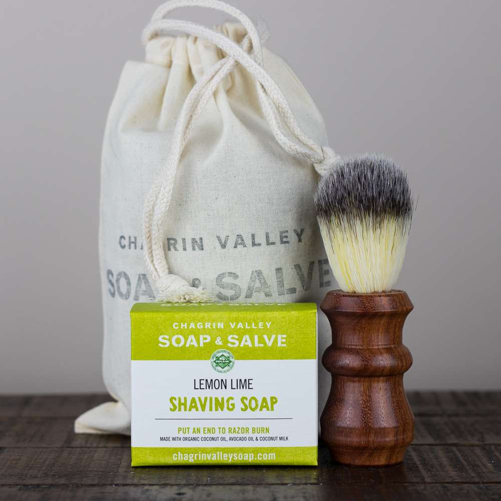 Wood Shaving Brush and Soap Gift