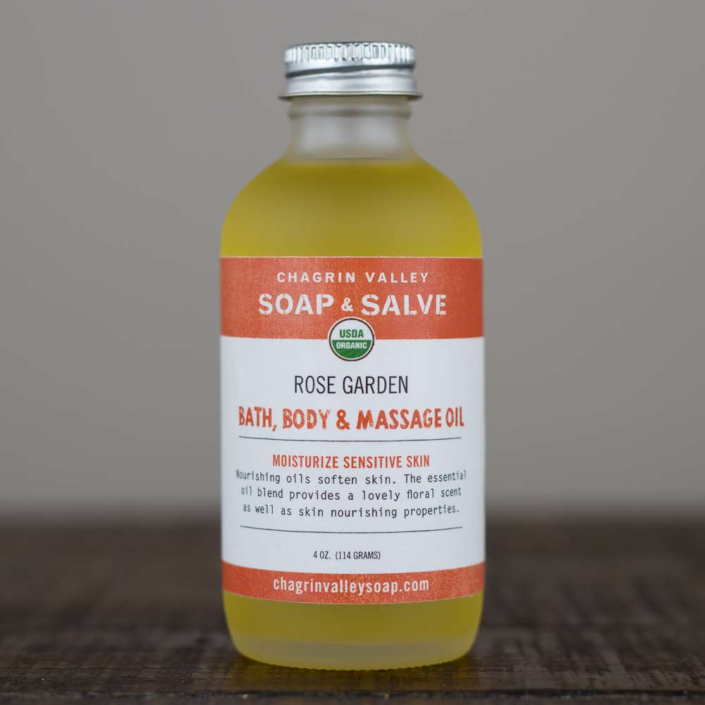 Organic Bath And Body Oil Rose Garden Chagrin Valley Soap