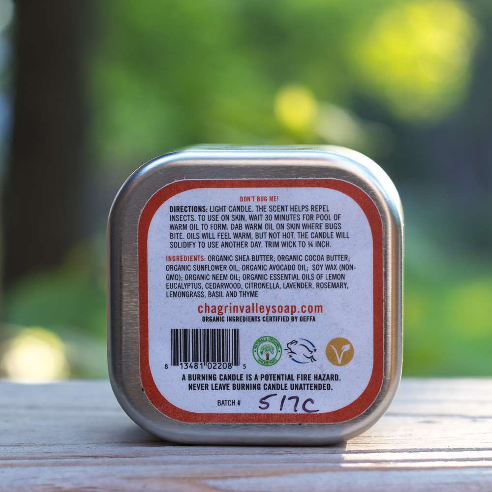 Natural Bug Repellent Lotion Candle Back