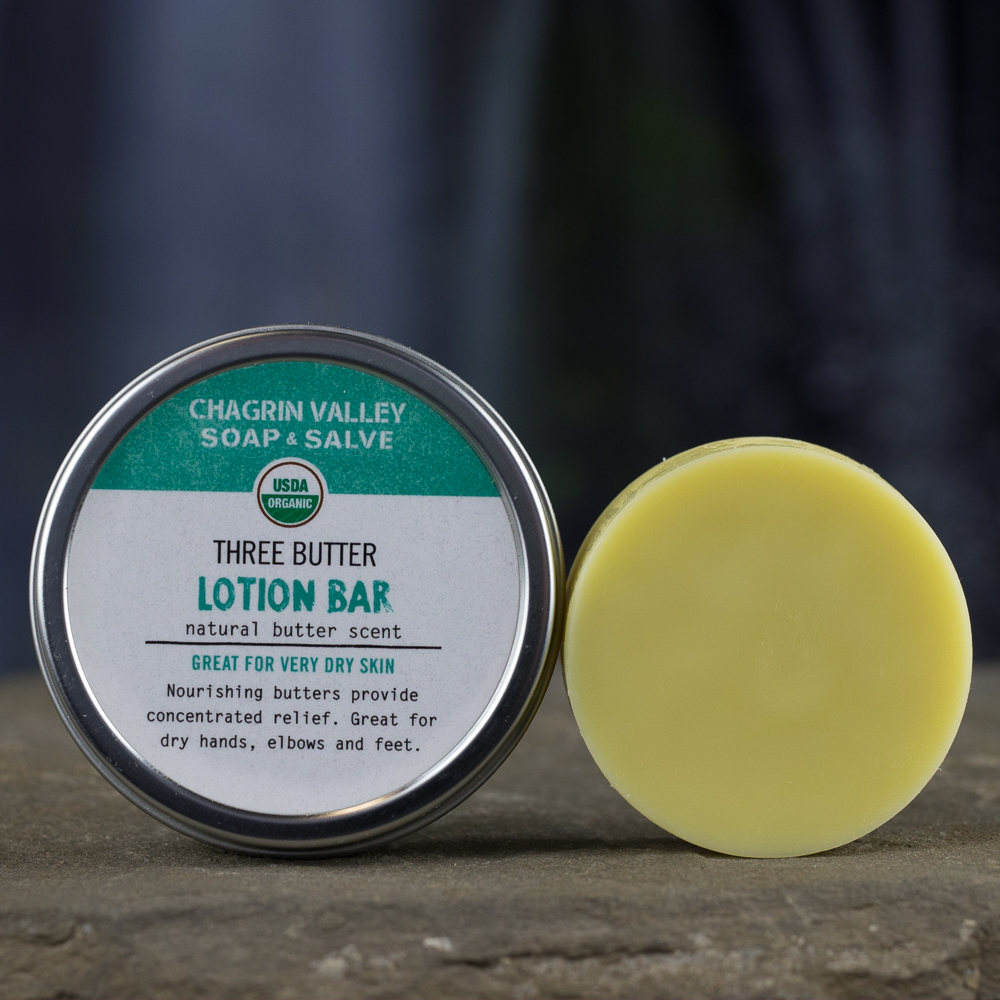 Organic Lotion Bar Three Butter Chagrin Valley Soap