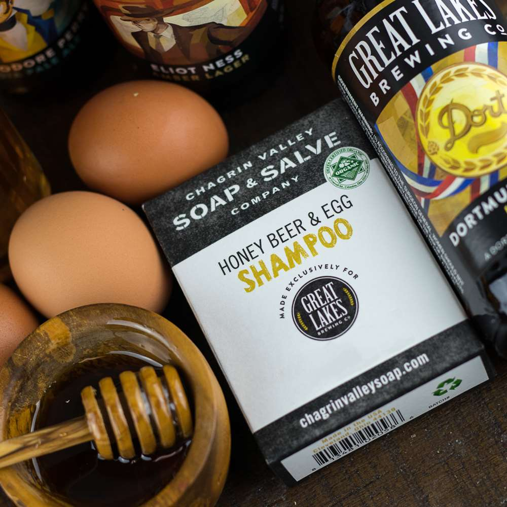 Natural Organic Beer and Egg Shampoo  made with great lakes soap