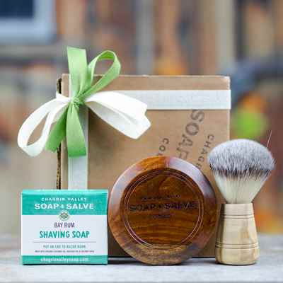 Gift: Wood Shaving Bowl, Soap & Olive Wood Brush