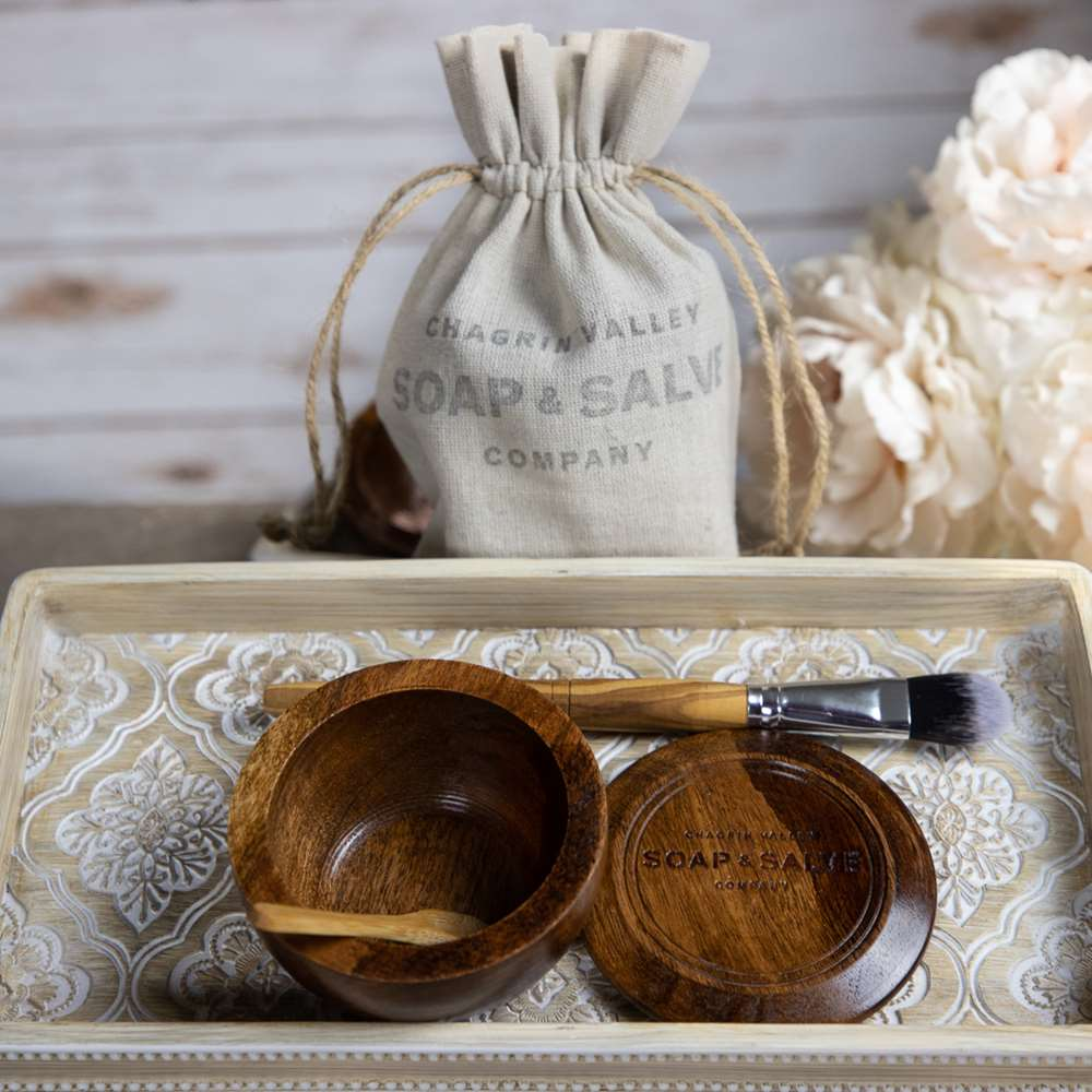Clay Mask Wooden Bowl & Brush Set