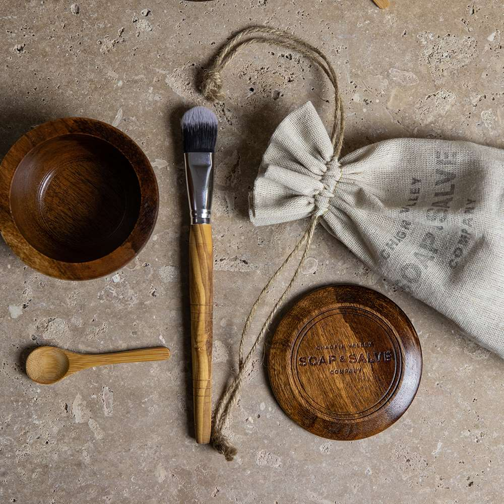 Wooden Clay Mask Bowl & Brush Set