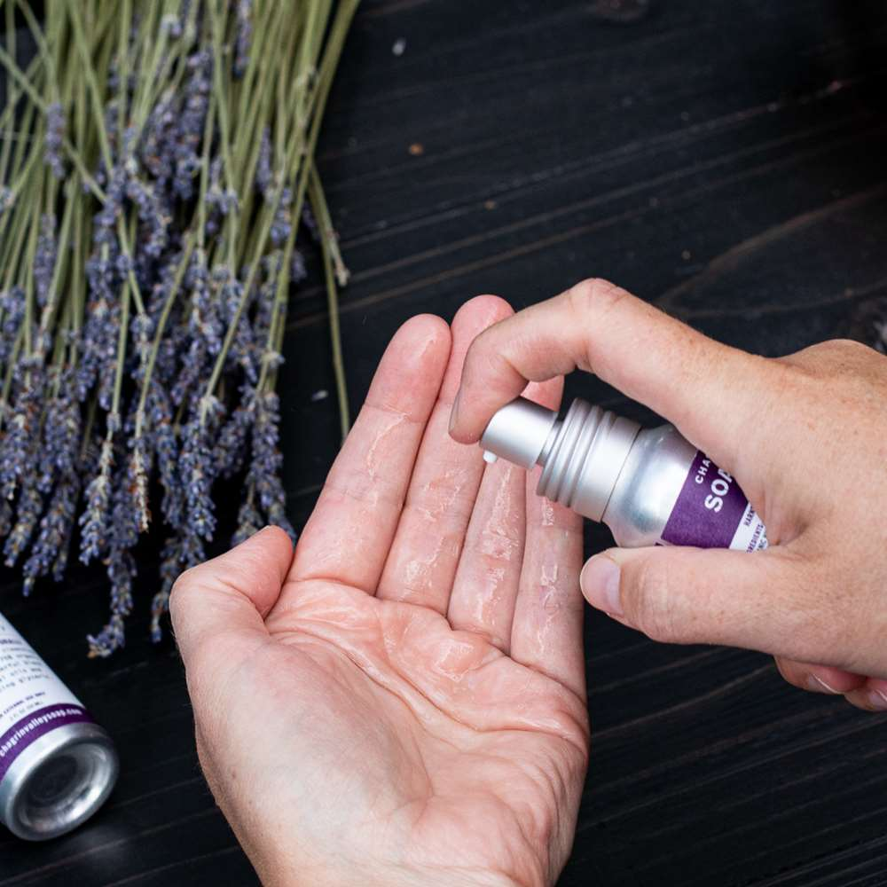 Organic Hand Sanitizer Lavender Rosemary Being Applied
